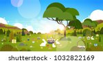 beautiful easter holiday... | Shutterstock .eps vector #1032822169