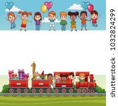 beautiful kids cartoon blank... | Shutterstock .eps vector #1032824299