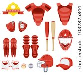 baseball equipment set. bat ...   Shutterstock .eps vector #1032825844