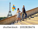 romantic couple with colorful... | Shutterstock . vector #1032828676