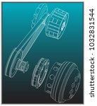 belt gear on a turquoise... | Shutterstock .eps vector #1032831544