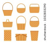 collection of empty baskets ... | Shutterstock .eps vector #1032833290