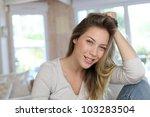 portrait of beautiful blond... | Shutterstock . vector #103283504