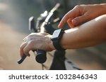 woman cyclist hands with heart... | Shutterstock . vector #1032846343