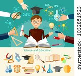 education infographic elements... | Shutterstock .eps vector #1032851923
