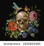 embroidery skull and roses ... | Shutterstock .eps vector #1032852400