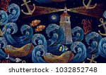 embroidery lighthouse  anchor ... | Shutterstock .eps vector #1032852748