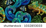 embroidery color chameleons and ... | Shutterstock .eps vector #1032853033