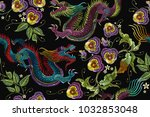 embroidery chinese dragons and... | Shutterstock .eps vector #1032853048
