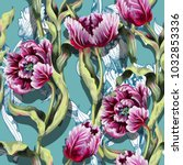 seamless pattern with tulips... | Shutterstock .eps vector #1032853336