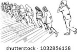 vector art drawing of people in ... | Shutterstock .eps vector #1032856138