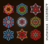 circular pattern set  9... | Shutterstock .eps vector #1032858079