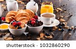 breakfast served with coffee ... | Shutterstock . vector #1032860290