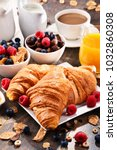 breakfast served with coffee ... | Shutterstock . vector #1032860308