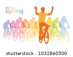 cycling group. illustration of... | Shutterstock .eps vector #1032860500