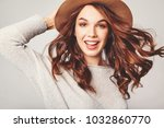 portrait of young stylish... | Shutterstock . vector #1032860770
