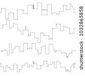 outline of city skyline.... | Shutterstock .eps vector #1032865858