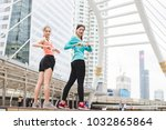 sportswomen stretching after... | Shutterstock . vector #1032865864