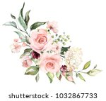 watercolor flowers. floral... | Shutterstock . vector #1032867733