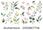 big set watercolor elements  ... | Shutterstock . vector #1032867736