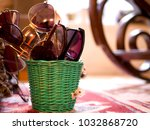 a small green basket packed...   Shutterstock . vector #1032868720