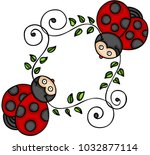 two cute ladybugs | Shutterstock .eps vector #1032877114