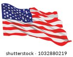 american flag waving vector... | Shutterstock .eps vector #1032880219