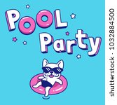pool party with funny cartoon... | Shutterstock . vector #1032884500