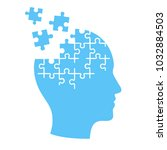 head profile with jigsaw puzzle ...   Shutterstock . vector #1032884503