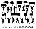 crowd of people silhouette set. ... | Shutterstock .eps vector #1032888844