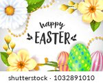 happy easter lettering with... | Shutterstock .eps vector #1032891010