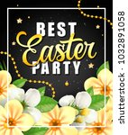 easter party lettering with... | Shutterstock .eps vector #1032891058