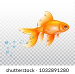 floating goldfish underwater.... | Shutterstock .eps vector #1032891280