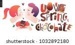 love spring chocolate slogan  ...   Shutterstock .eps vector #1032892180