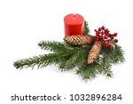 spruce twig with candle stock... | Shutterstock . vector #1032896284