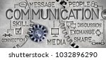 Small photo of Macro photo of tooth wheel mechanism with COMMUNICATION concept related words and icons imprinted on metal surface