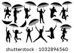 people with umbrellas... | Shutterstock .eps vector #1032896560