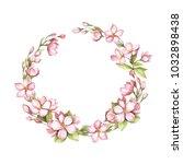 a garland of sakura blossoms.... | Shutterstock . vector #1032898438