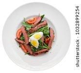 roast beef appetizer in plate...   Shutterstock . vector #1032899254