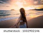 summer woman vacations concept  ...   Shutterstock . vector #1032902146
