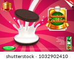 sandwich cookies and pouring... | Shutterstock .eps vector #1032902410
