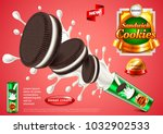 sandwich cookies ads. photo... | Shutterstock .eps vector #1032902533