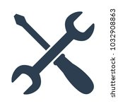 wrench and screwdriver icon on... | Shutterstock .eps vector #1032908863