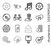 multimedia icons. set of 16... | Shutterstock .eps vector #1032909310