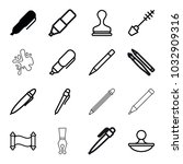 ink icons. set of 16 editable... | Shutterstock .eps vector #1032909316
