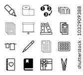 paper icons. set of 16 editable ... | Shutterstock .eps vector #1032909388