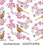 seamless embroidered pattern... | Shutterstock .eps vector #1032915496