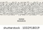 human resources banner concept. ... | Shutterstock .eps vector #1032918019