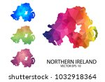 set of polygonal map blank on... | Shutterstock .eps vector #1032918364