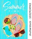 summer time beautiful flyer.... | Shutterstock .eps vector #1032924943